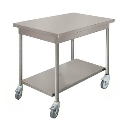 TABLE INOX 1000X600 ROULET+ETAGERE (1)